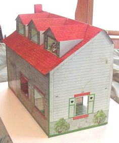 """Old Vintage Metal Litho Capecod Meritoy Dollhouse Doll House Toy 3 4"""" Scale 