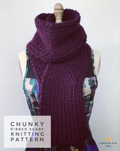 KNITTING PATTERN: Chunky Ribbed Scarf Pattern. Easy knitting pattern for beginners. $6 https://www.etsy.com/listing/289560325/knitting-pattern-chunky-ribbed-scarf?utm_source=OpenGraph&utm_medium=PageTools&utm_campaign=Share
