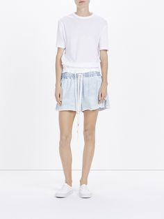 raw denim pull on short