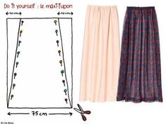 MAXI SKIRT: several models easy to do - catherine ropp - - MAXI JUPE : plusieurs modèles facile à faire MAXI SKIRT: several models easy to make Bettinael.Made in france - Sewing Hacks, Sewing Tutorials, Sewing Projects, Sewing Tips, Sewing Clothes, Diy Clothes, Diy Fashion, Fashion Models, Rock Fashion
