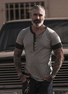 Menswear This cotton short sleeve henley was inspired by vintage henley's from the turn of the century.This Sheehan & Co. exclusive is the henley of the season. Moustaches, Herren Style, Older Men, Hair And Beard Styles, Attractive Men, Bearded Men, Gorgeous Men, Sexy Men, Men Dress