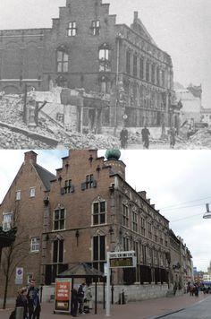 Het oude Stadhuis aan de Burchtstraat gaat in de laatste dagen voor de bevrijding in vlammen op.