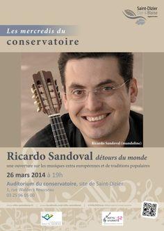 Affiche pour les mercredis du conservatoire : Ricardo Sandoval, détours du monde. Mercredi 26 mars 2014, à Saint-Dizier. Création originale.