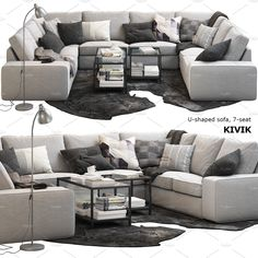 Ikea KIVIK U-shaped sofa coffee, available in MAX, OBJ, FBX, ready for animation and other projects Ikea Living Room, Living Room Grey, Small Living Rooms, Living Room Designs, Ikea Sofas, Ikea Sectional, Ikea U Shaped Sectional, U Couch, Ikea Lounge