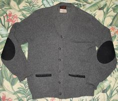 vintage shetland wool cardigan with elbow patches