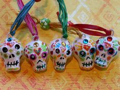 I put these departed souls in my little shoppe across the universe. They are completely sculpted by hand with real clay--not sculpey--and handpainted and have swarovski crystals in their eye sockets. Polymer Clay Projects, Clay Crafts, Arts And Crafts, Samhain, Sugar Skull Art, Sugar Skulls, 8th Grade Art, Vsco, Day Of The Dead Skull