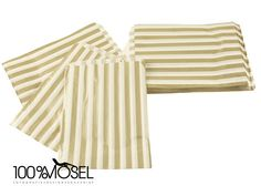 10 Papiertüten gold gestreift 12,5 x 17,5 cm