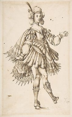 Male Figure in Ballet Costume  Anonymous, French, 17th century   Date: 17th century Medium: Pen and brown ink