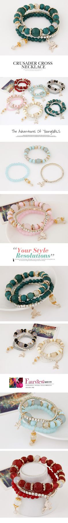 Wholesale Occident fashion easy match trendy graceful beads pendant multi-layer bracelet ( green )   Callesetas