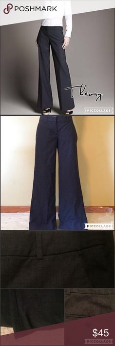 "Charcoal Theory Emery trousers 4S Charcoal colored Theory Emery wide leg trousers in perfect condition. These are a reposh bc they're too short. Zip fly and hook & eye closure, 2 buttoned back pockets, and 2 side slit pockets. 2"" waistband with belt loops. 15"" flat waist, 8"" rise, and 29"" inseam. 96% wool and 4% Lycra . 💖 Theory Pants Wide Leg"
