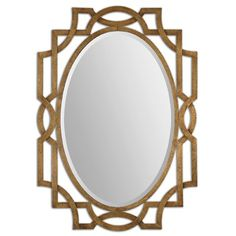The Uttermost Margutta Gold Oval Mirror features a hand forged contemporary metal frame, finished in a heavy antiqued gold leaf. This large wall mirror can be conveniently hung either vertically or horizontally. Metal Mirror, Wall Mounted Mirror, Beveled Mirror, Wall Mirrors, Mirror Mirror, Bathroom Mirrors, Mirror Glass, Bathroom Ideas, Master Bathroom
