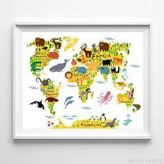Animal World Map White Background Wall Art Print. Prices from $9.95. Available at InkistPrints.com - #animal #worldmap #nursery #babyshowergift #giftformom #babygift #nurseryart