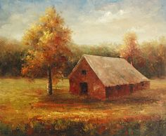 "Oil Painting On Stretched Canvas 20""x 24""- Red Autumn Barn #Impressionism"