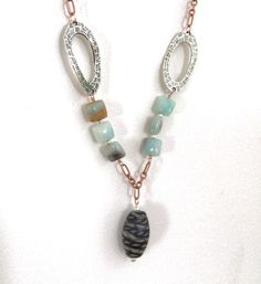 Copper and Pewter Amazonite Glass Toggle Necklace and Earrings Set by dragonflydesigns01