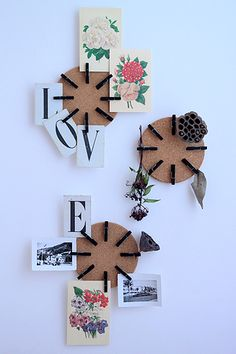 Unique bulletin board. Add painted clothes pins to round cork boards.