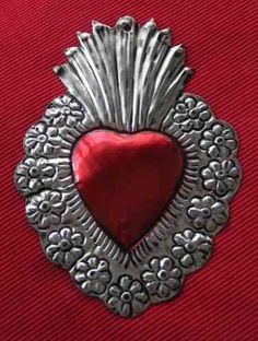 corazones de hojalata, artesanía méjico, pared