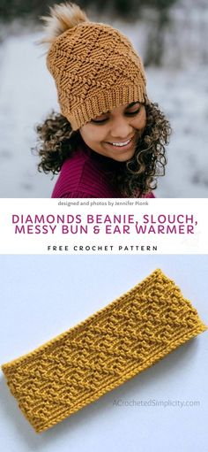 Diamonds Beanie, Slouch, Messy Bun & Ear Warmer Free Crochet Pattern - DIY and crafts - Diy Crochet Hat, Puff Stitch Crochet, Crochet Winter Hats, Crochet Beanie Pattern, Crochet Unicorn, Crochet Gloves, Free Crochet, Crochet Patterns, Crochet Headbands