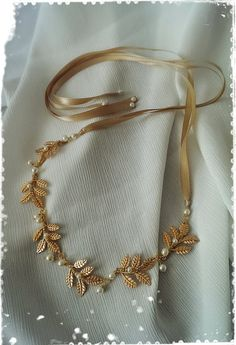 Greek Goddess Laurel Leaf Crown-Bridal Gold Leaf by WhitePeonybyKC