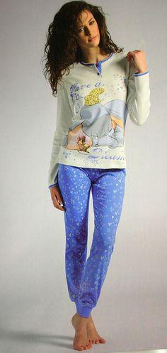 pigiama lungo due pezzi casa Disney donna-dumbo-pijamas homewear woman-cartoni