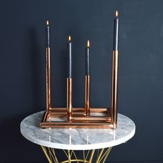 copper double candle holder by miafleur | notonthehighstreet.com