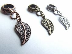 Metal Dread Bead  Leaf Dangle Dreadlock Jewelry by SouthpawPolymer, $5.00