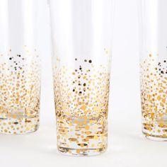 Gold Leaf Cocktail Glasses, Set of 4