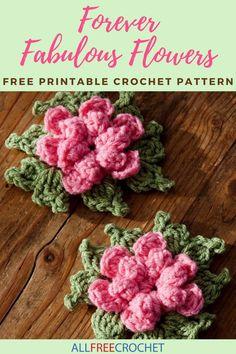 Forever Fabulous Flowers Crochet Pattern Diy Crochet Flowers, Crochet Puff Flower, Crochet Flower Patterns, Knitting Patterns, Knit Flowers, Crochet Ideas, All Free Crochet, Unique Crochet, Beautiful Crochet