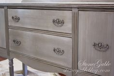 PARIS GREY BUFFET - StoneGable Paris grey with a wash of pure white and dark wax. Trying this on my daughters bedroom furniture. Chalk Paint Dresser, Gray Chalk Paint, Chalk Paint Furniture, Annie Sloan Chalk Paint, White Chalk, Whitewash Furniture, Chalk Painting, Painted Bedroom Furniture, Grey Furniture