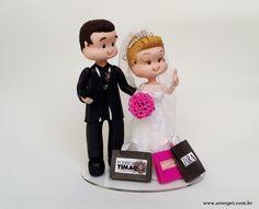 Topo de bolo Fofinhos,noiva selfie e noivo corintiano.