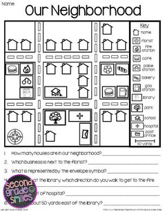 Map Skills- printable activities to help students practice using a map key, a compass rose, and a scale to read, interpret, and create basic maps. - Can be adapted/used as a starting idea to create your own work pages to enforce these concepts Map Worksheets, Social Studies Worksheets, Social Studies Activities, Teaching Social Studies, Worksheets For Kids, Kindergarten Social Studies Lessons, Teaching Maps, Teaching Geography, Teaching Resources