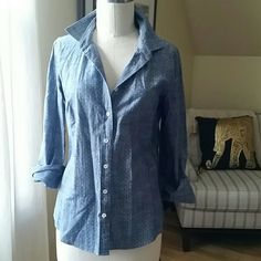 Jcrew chambray shirt Size 4. Never worn J. Crew Tops Button Down Shirts