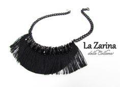 """Collana nera con frangia e cristalli """"Ada"""" - 20s inspired black necklace with fringe from La Zarina delle Collane designs"""