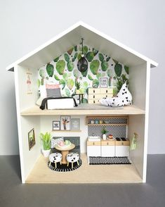 This is an unique handmade modern miniature scale Doll house. This charming Little Doll house is handmade from wood. We sawn wood at the exact measurement and them we build the wooden sides together. All wooden elements and accessories are painted w Ikea Dollhouse, Wooden Dollhouse, Victorian Dollhouse, Dollhouse Ideas, Diy Dollhouse Miniatures, Homemade Dollhouse, Dollhouse Dolls, Doll House Plans, Diy Casa