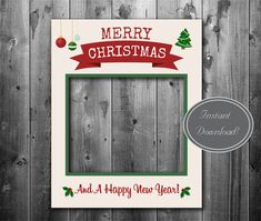 Printable Christmas giant prop, Instant Download, photobooth photo prop, xmas selfie, happy holidays party photos, printable holiday ideas by YouGrewPrintables on Etsy