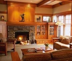 craftsman fireplace and built ins