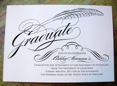 Calligraphy Graduation Invite