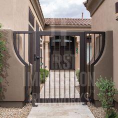 Plain Bar Iron Gate - First Impression Ironworks Front Door Entrance, Entrance Gates, Entry Doors, Front Entry, Wrought Iron Decor, Wrought Iron Gates, Metal Garden Gates, Side Gates, Iron Doors