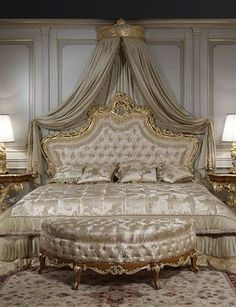 Luxury classic bedroom roman baroque style of the Seventeenth century: baroque toilette and night tables, luxury classic bed, classic lamps. Find out additional specifics about cozy comfy bed ideas by clicking through. Champagne Bedroom, Beautiful Bedrooms, Romantic Bedrooms, Luxurious Bedrooms, Luxury Bedroom Sets, Dream Bedroom, Gold Bedroom, Baroque Bedroom, Master Bedroom