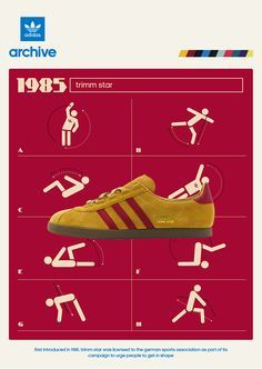 Crackin' poster from 1985 showing adidas Trimm Star