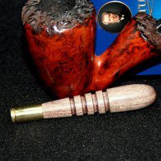 Peruvian Walnut tobacco pipe tamper with brass cartridge foot