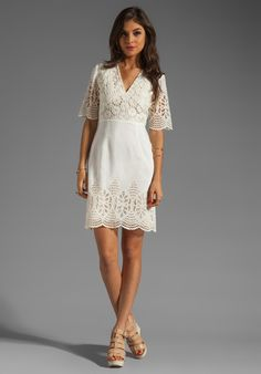 Anna Sui Bohemian Eyelet Embroidered Short Sleeve Dress in White (cream)