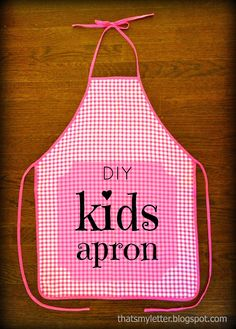 """That's My Letter: """"A"""" is for Apron (kid size), diy kids gingham apron"""