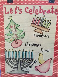 My December holidays anchor chart for kindergarten.