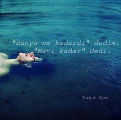 """""""Dünya ne kadardı"""" dedim. """"Mavi kadar"""" dedi. - Turgut Uyar#sözler #anlamlısözler #güzelsözler #manalısözler #özlüsözler #alıntı #alıntılar #alıntıdır #alıntısözler #şiir #edebiyat"""
