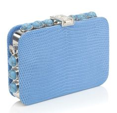 Lizard and gemstone minaudiere by Judith Leiber Blue Purse, Blue Bags, Unique Handbags, Wholesale Handbags, Turquoise, Luxury Bags, Beautiful Bags, Judith Leiber, Handbag Accessories