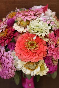 Coral Zinnia Bouquet. #wedding #bridal