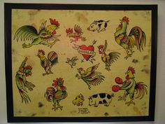 Items similar to Original painting vintage style tattoo flash roosters fighting cocks chickens and a couple pigs on Etsy Rooster Tattoo, Chicken Tattoo, Vintage Style Tattoos, Traditional Tattoo Flash, Vintage Flash, Best Sleeve Tattoos, Tiger Tattoo, Flash Art, American Traditional