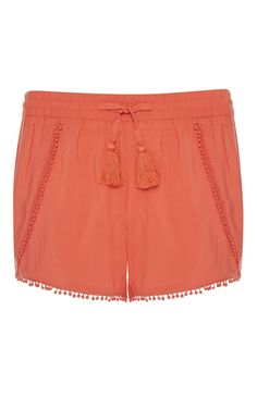 Primark - Koraalkleurige shorts met franje