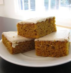 pumpkin bars (adapted from a Paula Deen recipe)  4 eggs  1 2/3 cup sugar  1/2 cup unsweetened apple sauce  1/2 cup vegetable oil  15 oz can pumpkin puree  2 cups flour  2 teaspoons baking powder  1 teaspoon cinnamon  1 teaspoon pumpkin pie spice  1 teaspoon baking soda  1 teaspoon salt    8 oz low fat cream cheese, room temperature  1/2 cu...