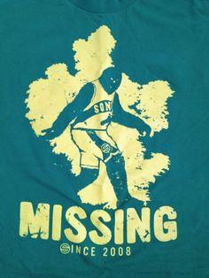 NBA Seattle Sonics Supersonics NBA Missing Since 2008 Size Large T Shirt | eBay $10 - David Stern hates Seattle